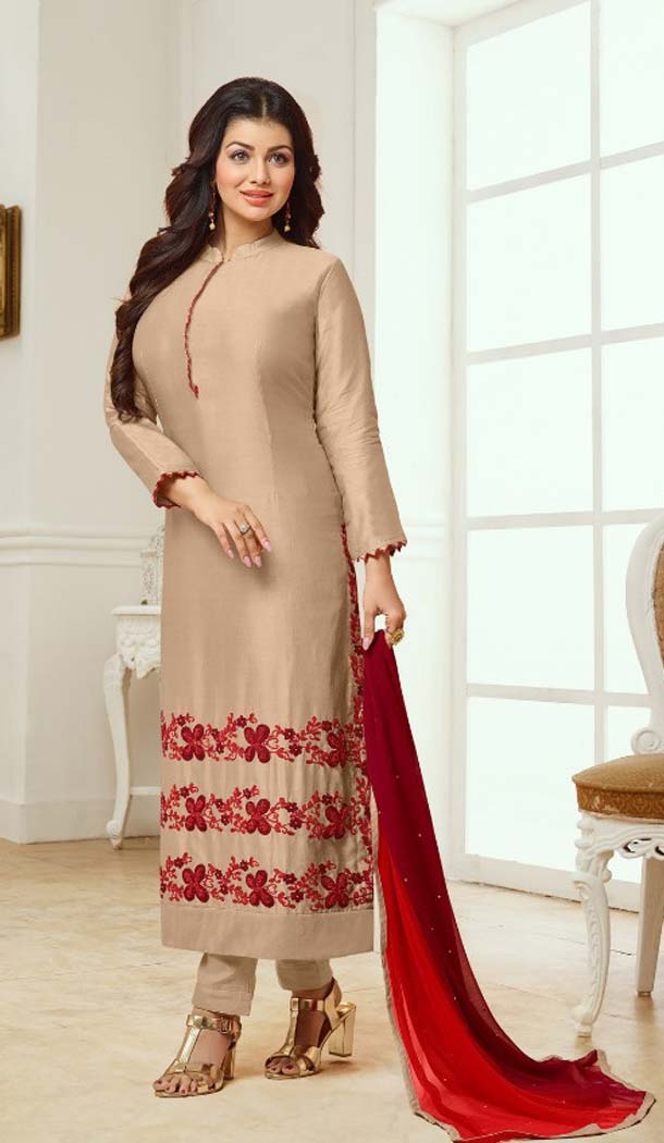 Charming Brown Color Cotton Satin Celebrity Aysha Takia Salwar Kameez -467665731