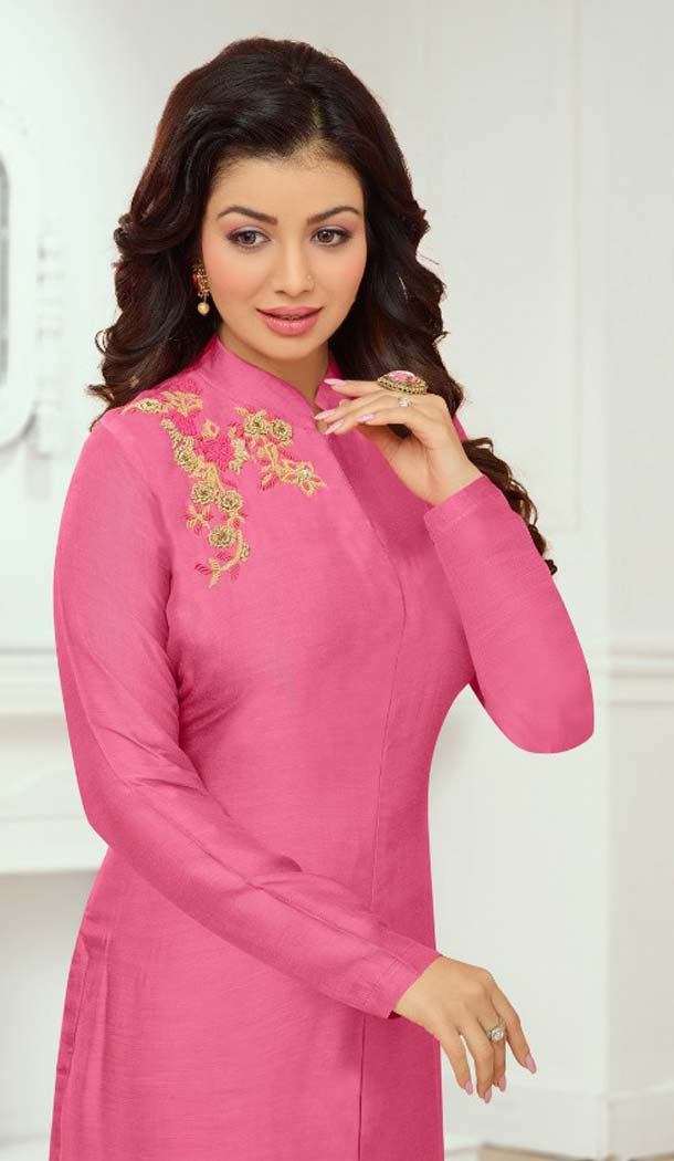 Marvelous Pink Color Cotton Satin Celebrity Aysha Takia Salwar Kameez -467665732