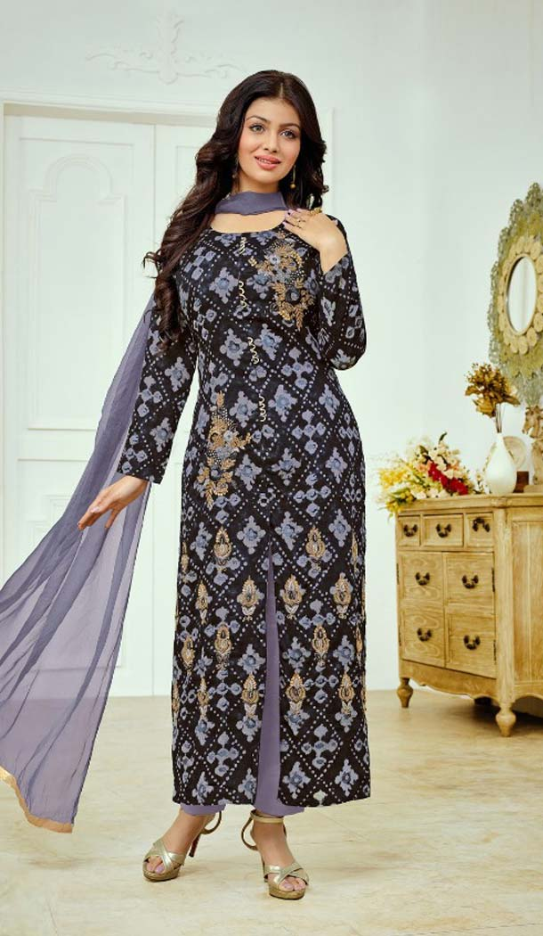 Multi Color Cotton Satin Celebrity Aysha Takia Salwar Kameez -467665733