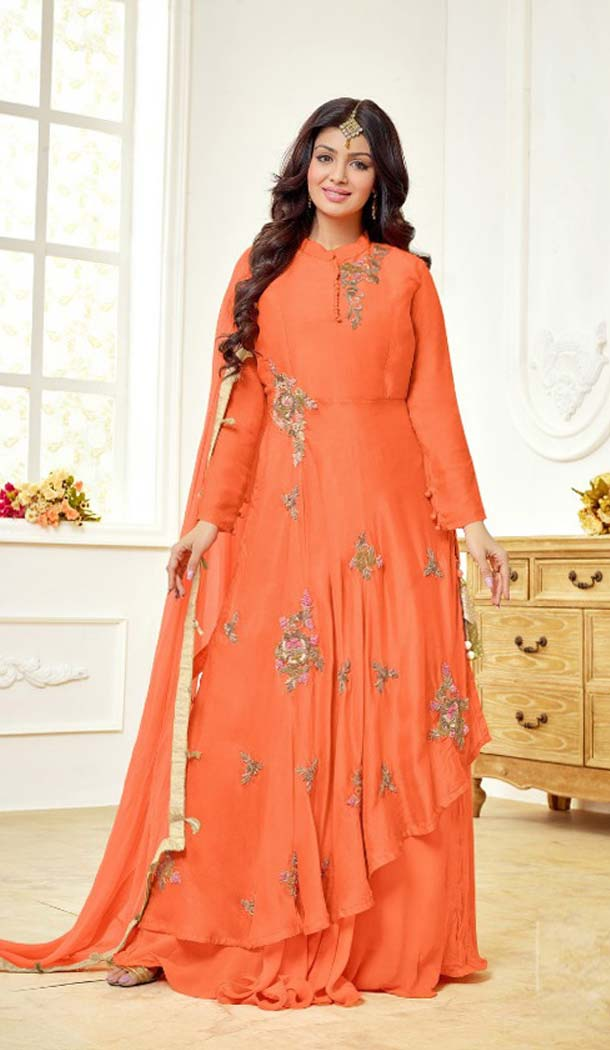 Captivating Orange Color Cotton Satin Celebrity Aysha Takia Salwar Kameez -467665735