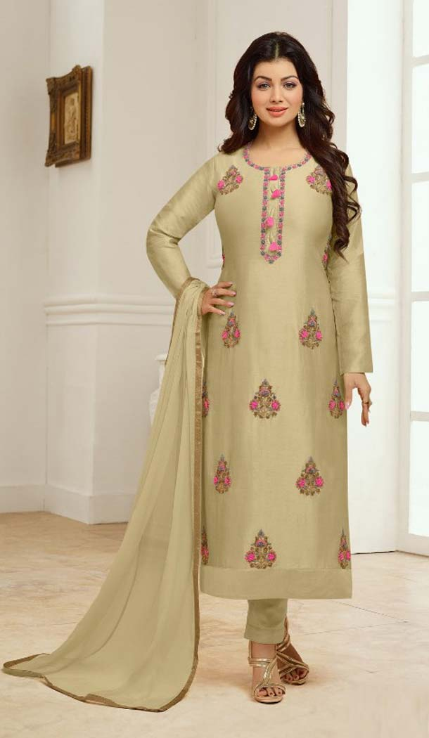 Splendorous Beige Color Cotton Satin Celebrity Aysha Takia Salwar Kameez -467665736