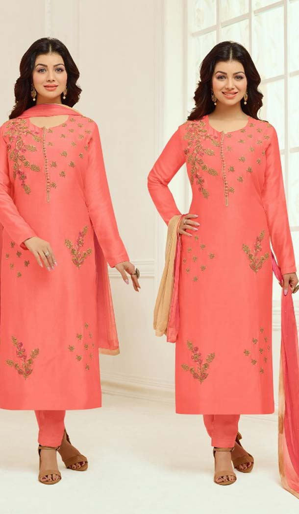 Majesty Orange Cotton Satin Celebrity Aysha Takia Salwar Kameez -467665737