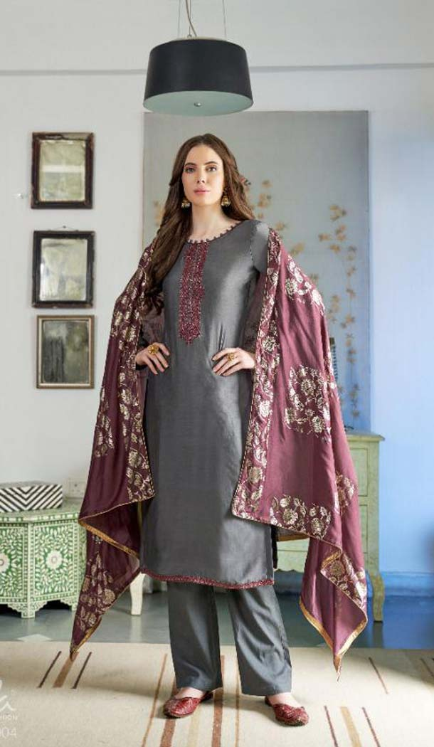 Captivating Grey Color Cotton Silk Party Wear Salwar Kameez -468665784