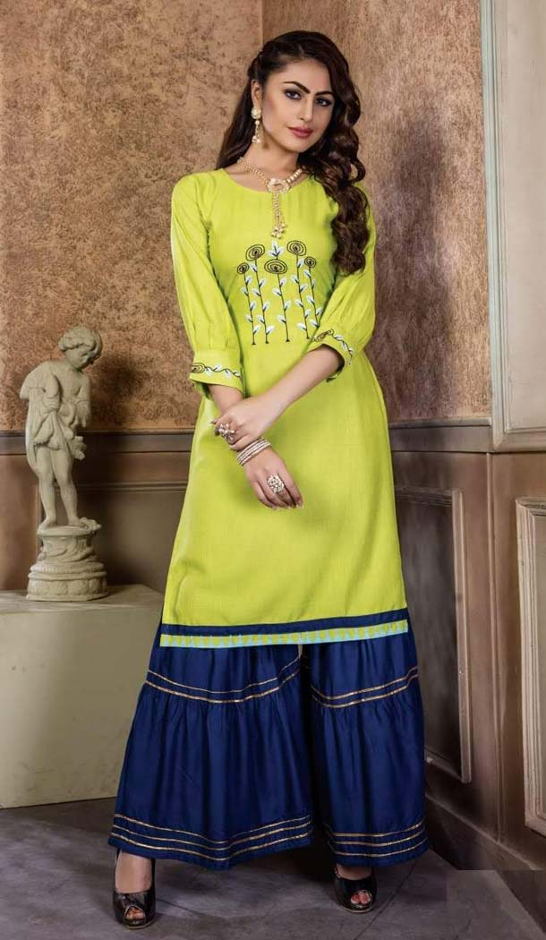 Yellow Color Rayon Party Wear Readymade Kurti With Palazzo -470165906
