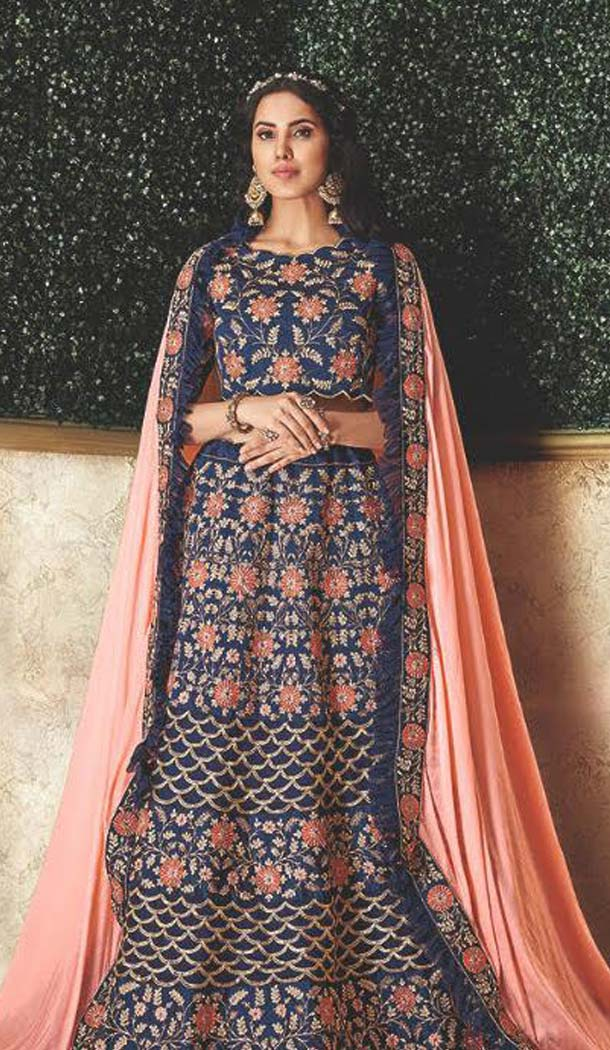 Tantalizing Blue Color Silk Designer Lehenga Choli -470265917
