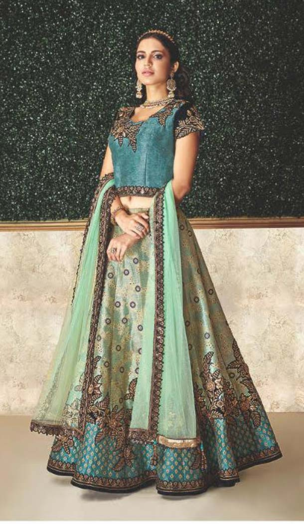 Blue Color Jacquard Designer Fancy Lehenga Choli -470265920