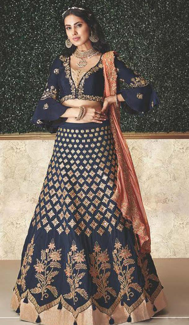 Blue Color Taffeta Silk Designer Fancy Lehenga Choli -470265922