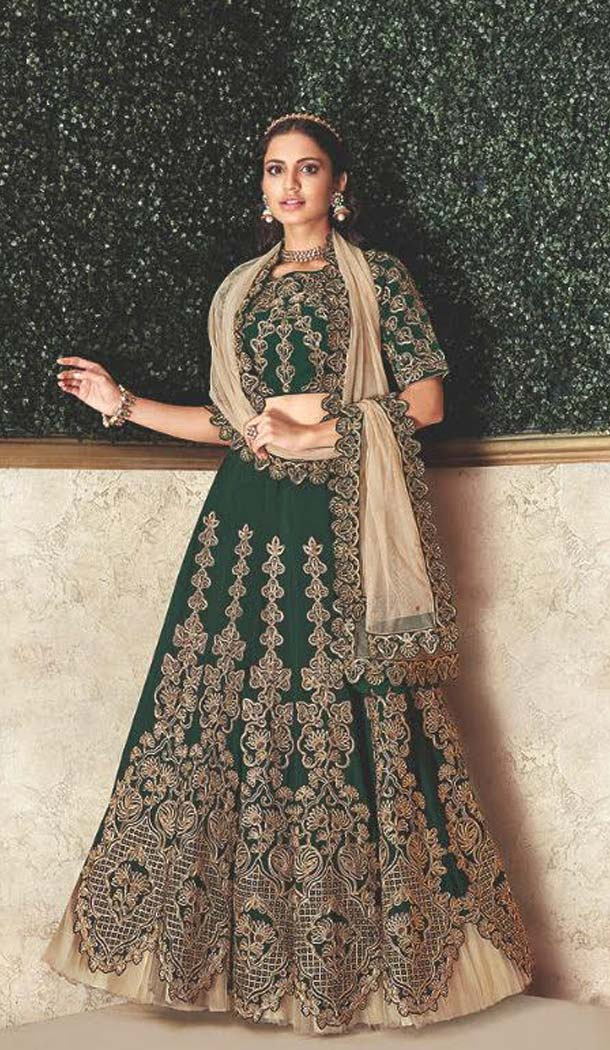 Charming Green Color Satin Designer Fancy Lehenga Choli -470265923