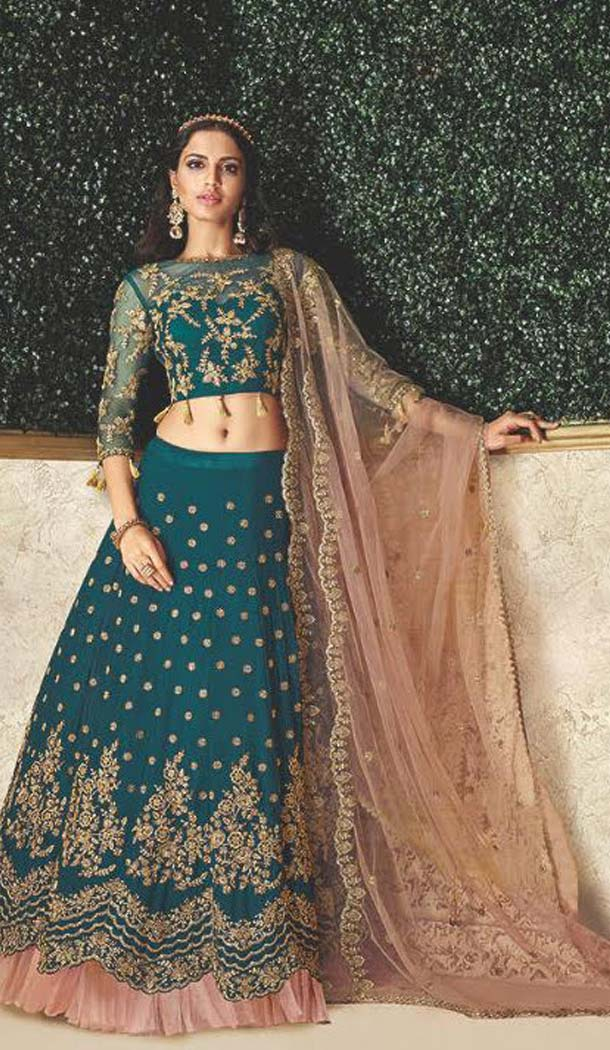 Teal Blue Color Satin Designer Fancy Lehenga Choli -470265924
