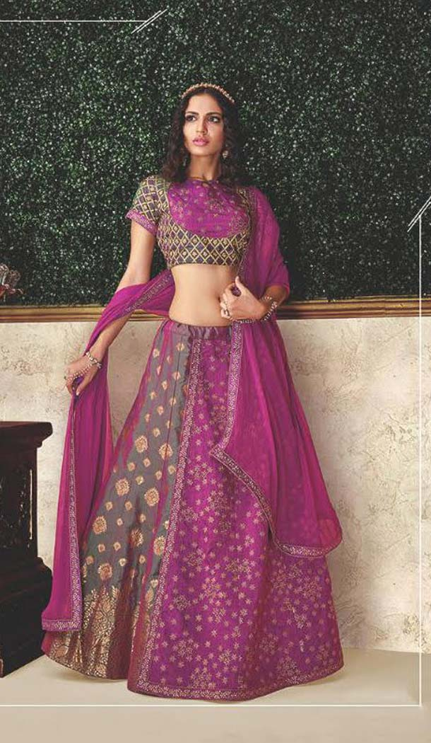 Green Color Dual Tone Silk Designer Fancy Lehenga Choli -470265925