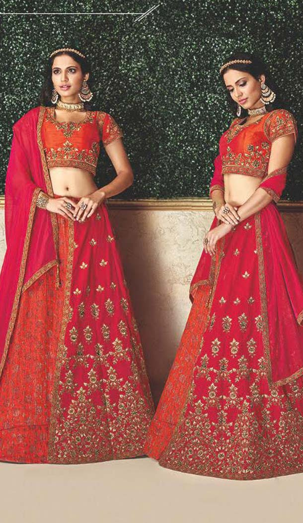 Orange Color Jacquard Designer Fancy Lehenga Choli -470265926