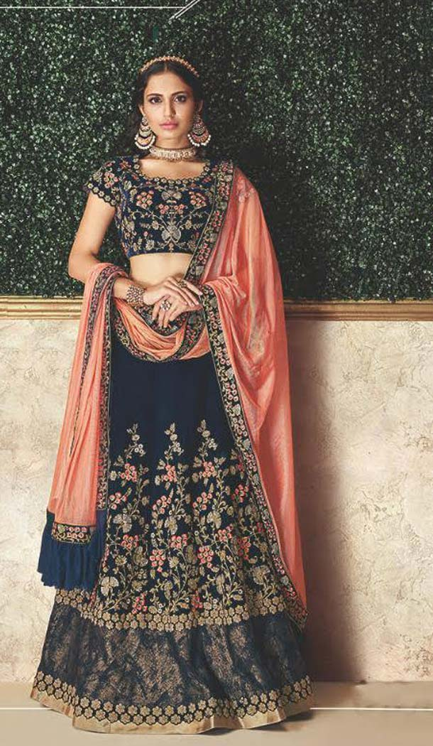 Stylish Blue Color Velvet Designer Fancy Lehenga Choli -470265927