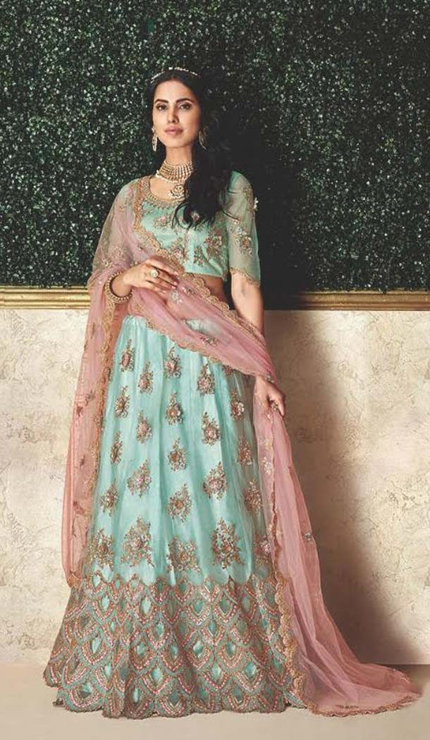 Sky Blue Color Taffeta Silk Designer Fancy Lehenga Choli -470265928