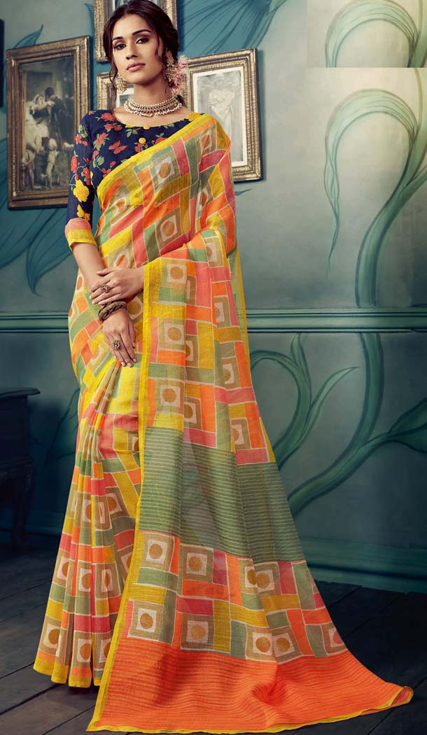 Adorable Multi Color Cotton Silk Casual Wear Printed Silk Saree -653881718