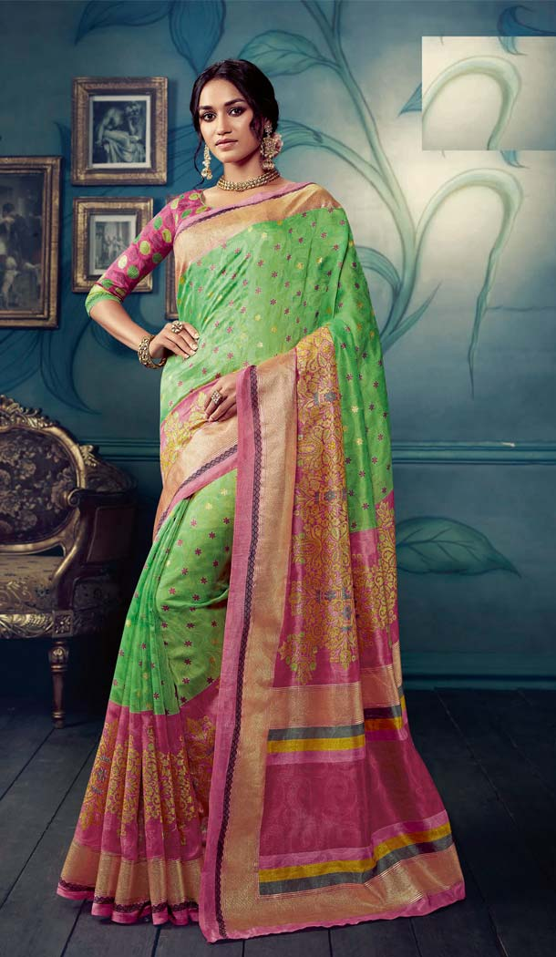 Green Color Cotton Silk Casual Wear Printed Silk Saree -653881719