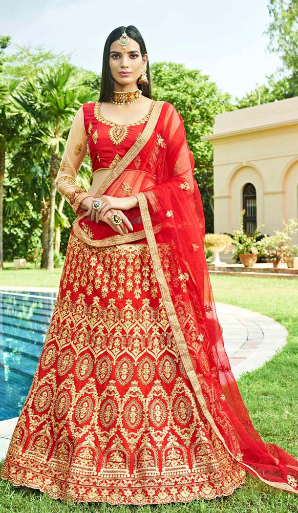 Red Color Silk Traditional Party Wear Plus Size Lehenega Choli -657882241