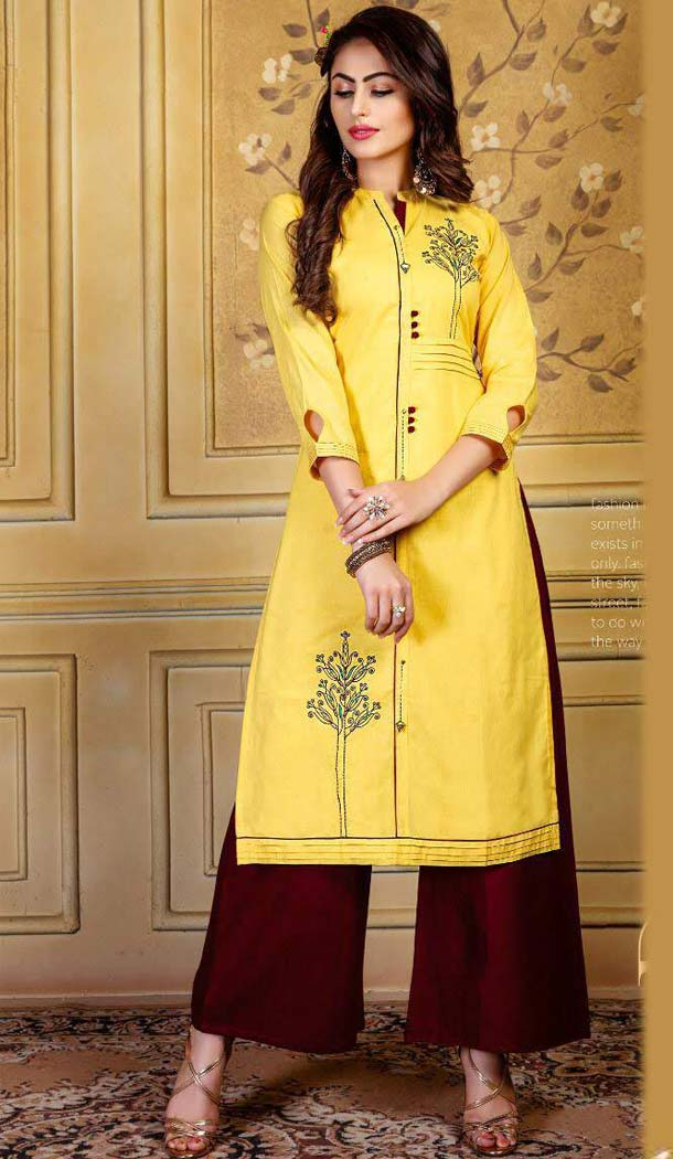 Fancy Yellow Color Rayon Party Readymade Long Kurtis With Palazzo -472866133