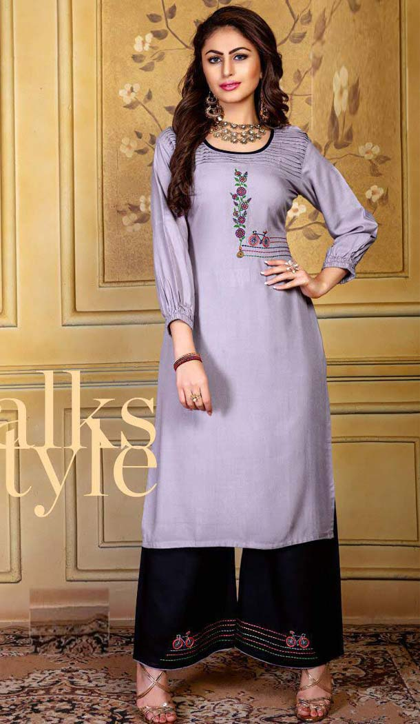 Light Grey Color Rayon Party Readymade Long Kurtis With Palazzo -472866136