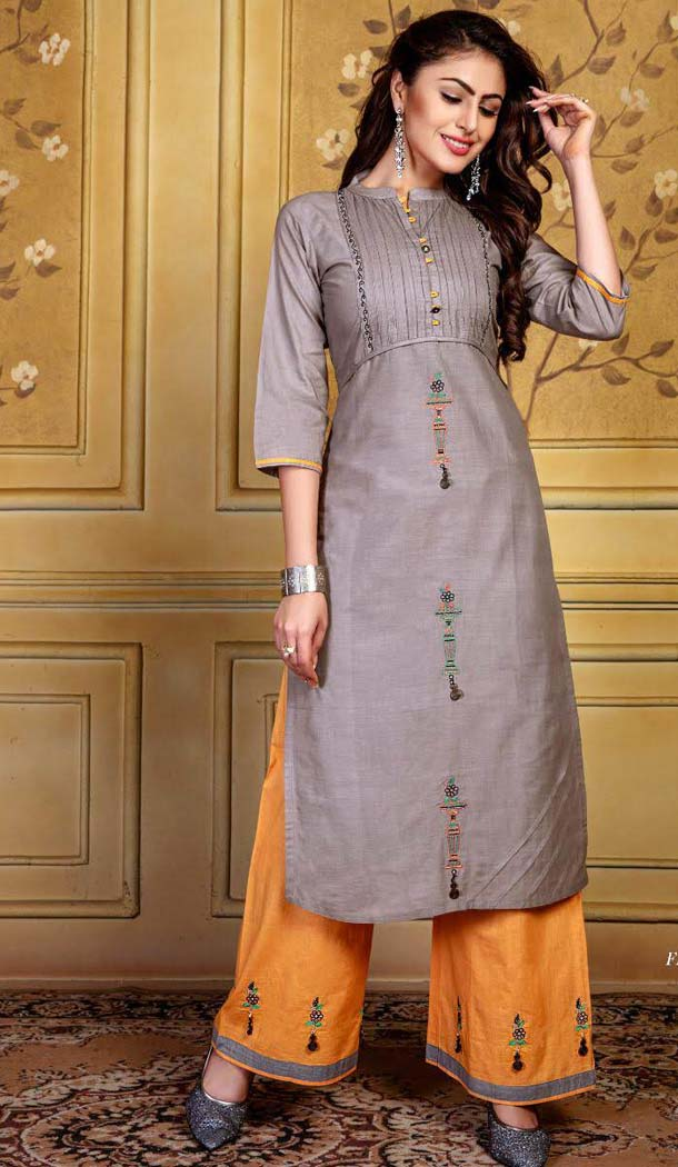 Beige Color Rayon Party Readymade Long Kurtis With Palazzo -472866138