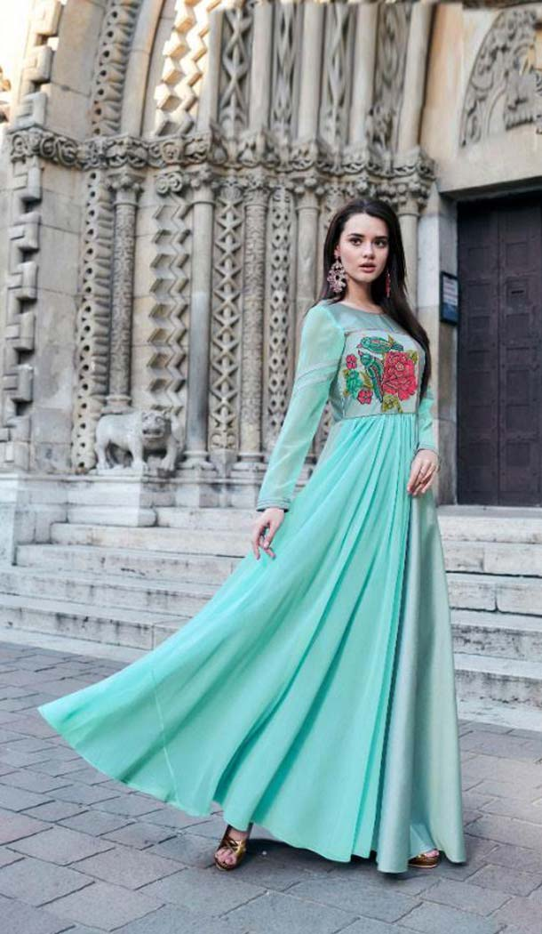 Sky Blue Color Reyon Silk Designer Long Readymade Kurti -473066144