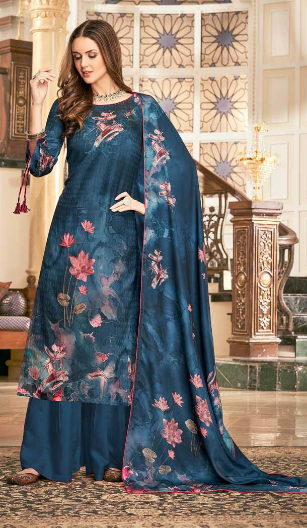 Alluring Teal Blue Color Wool Pashmina Winter Wear Casual Palazzo Suit -660782749