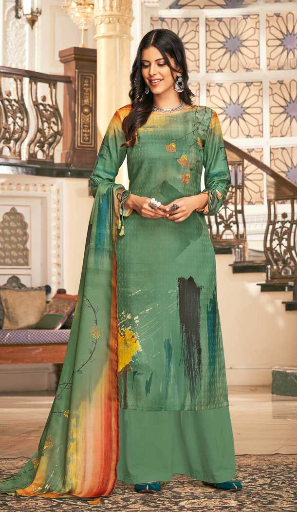 Scintillating Green Color Wool Pashmina Winter Wear Casual Palazzo Suit -660782750
