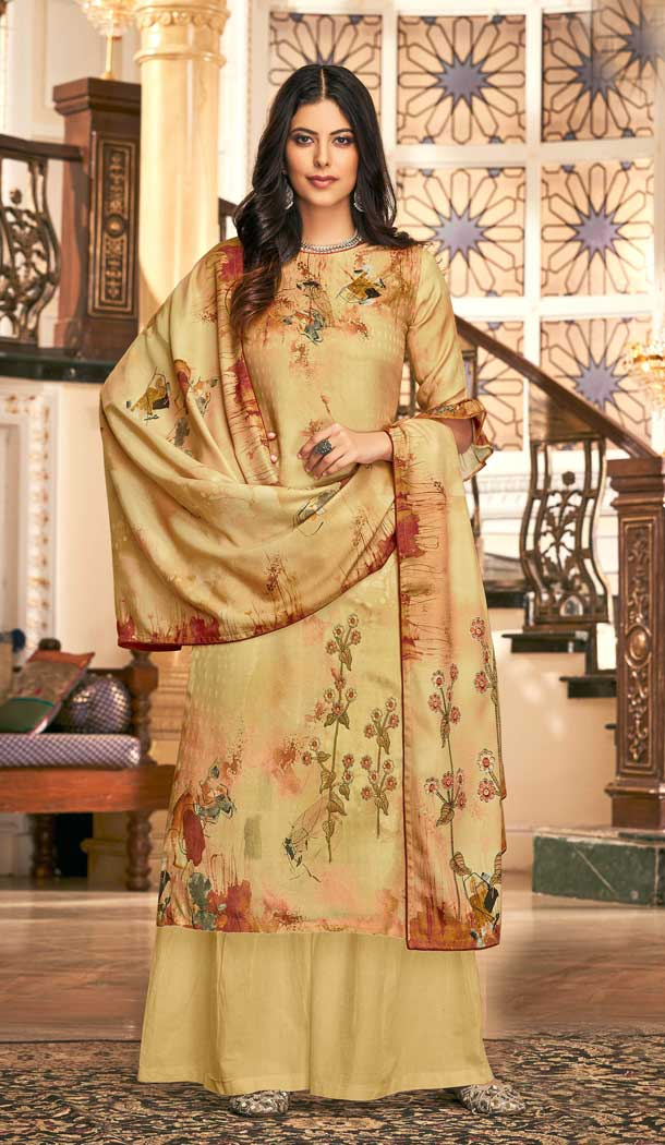 Vivacious Cream Color Wool Pashmina Winter Wear Casual Palazzo Suit -660782752
