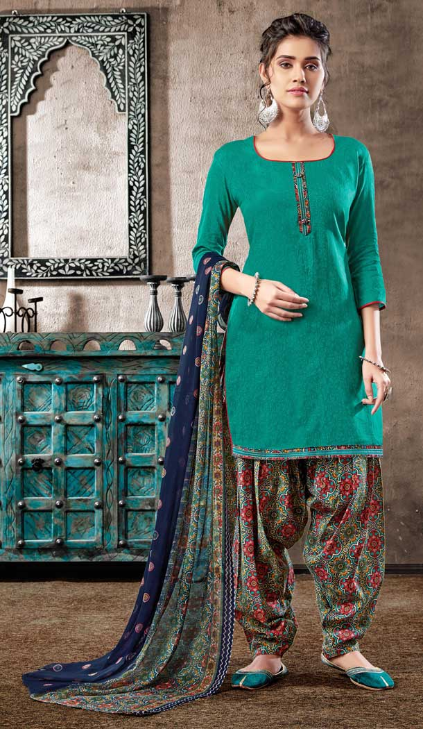 Green Color Pure Zam Cotton Casual Wear Punjabi Patiala Suit -660982761