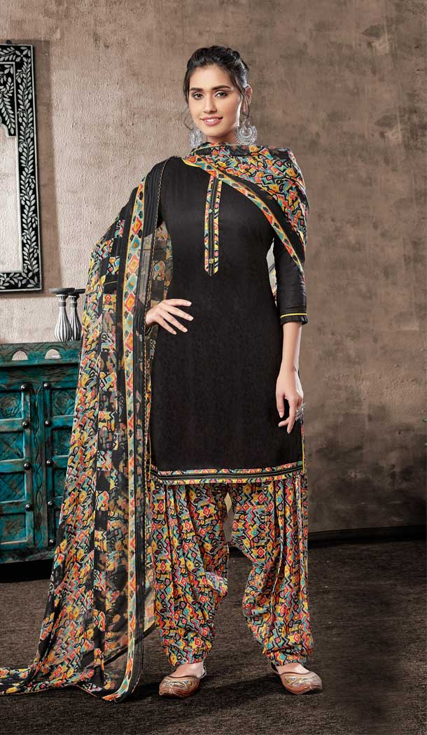 Black Color Pure Zam Cotton Casual Wear Punjabi Patiala Suit -660982763