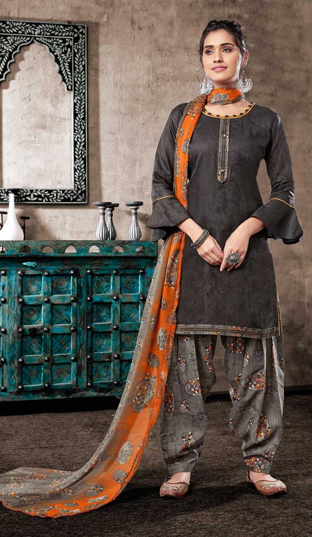 Dark Grey Color Pure Zam Cotton Casual Wear Punjabi Patiala Suit -660982764