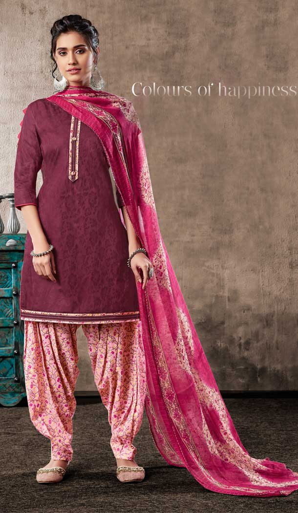 Violet Color Pure Zam Cotton Casual Wear Punjabi Patiala Suit -660982766