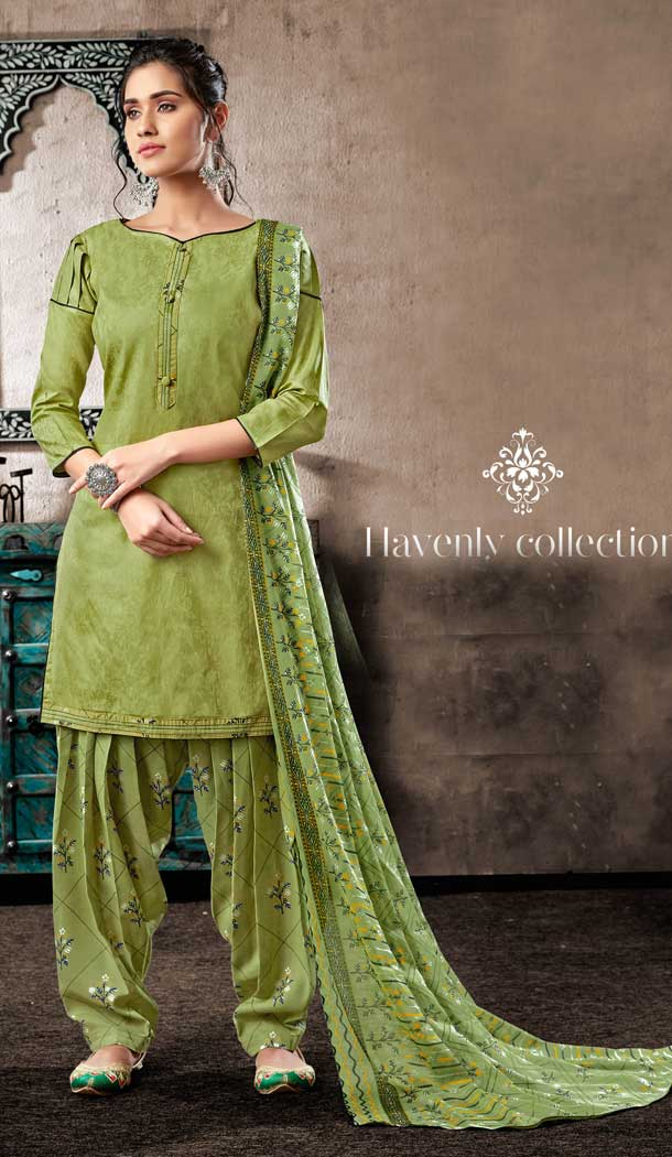 Divine Green Color Pure Zam Cotton Casual Wear Punjabi Patiala Suit