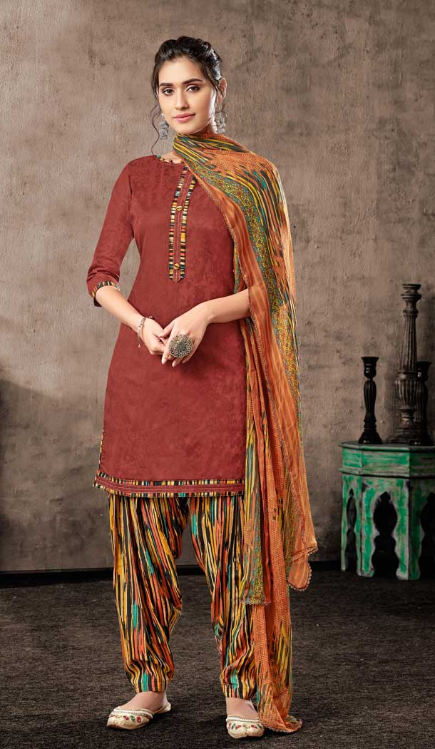 Maroon Color Pure Zam Cotton Casual Wear Punjabi Patiala Suit -660982768