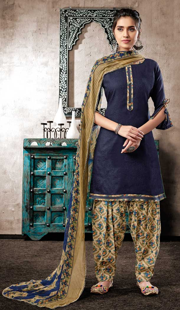 Navy Blue Color Pure Zam Cotton Casual Wear Punjabi Patiala Suit -660982769