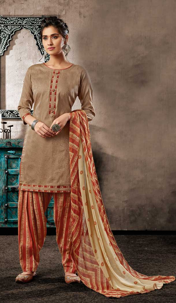 Sparkling Beige Color Pure Zam Cotton Casual Wear Punjabi Patiala Suit -660982770