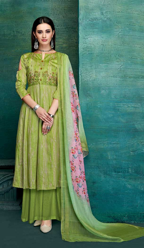 Green Color Pure Zam Satin Casual Office Wear Palazzo Suit -661182783