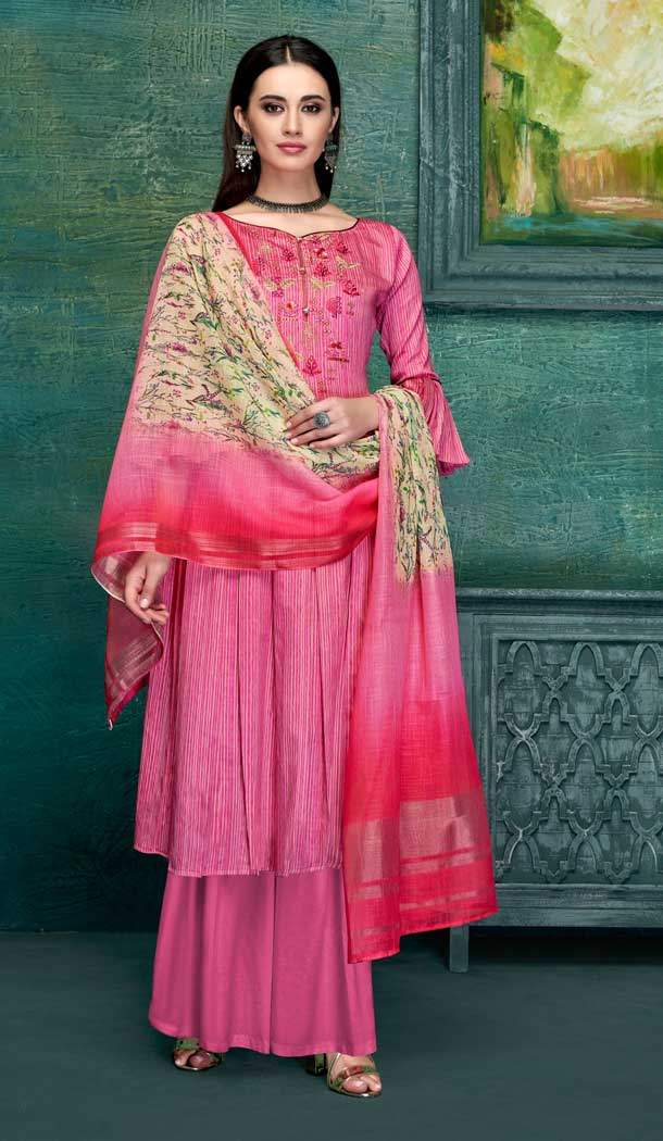 Exotic Pink Color Pure Zam Satin Casual Office Wear Palazzo Suit -661182785