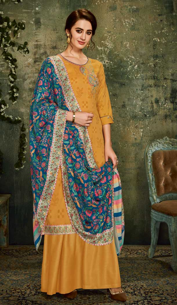 Alluring Yellow Color Wool Pashmina Office Wear Palazzo Suit -661482804