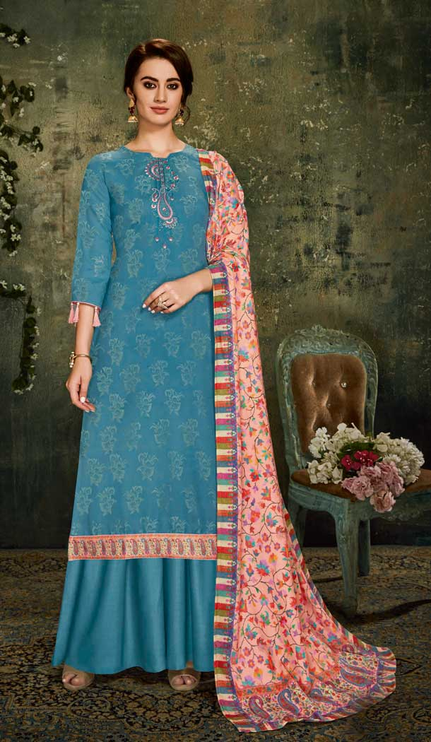 Alluring Blue Color Wool Pashmina Office Wear Palazzo Suit -661482807