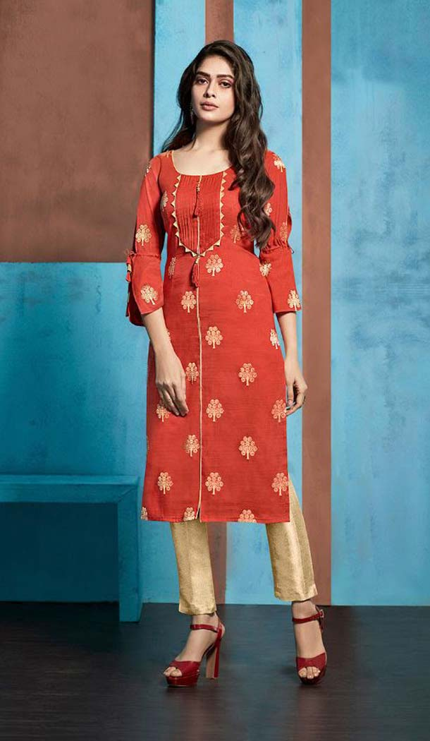 Alluring Red Color Jacquard Casual Party Wear Readymade Kurti -474166216