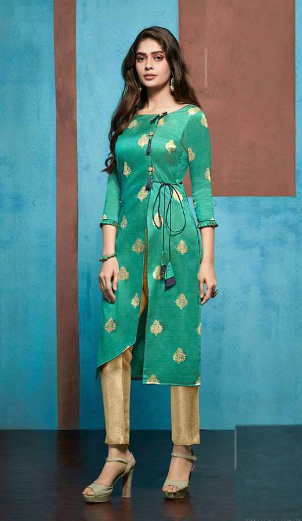 Aesthetic Green Color Jacquard Casual Party Wear Readymade Kurti -474166217