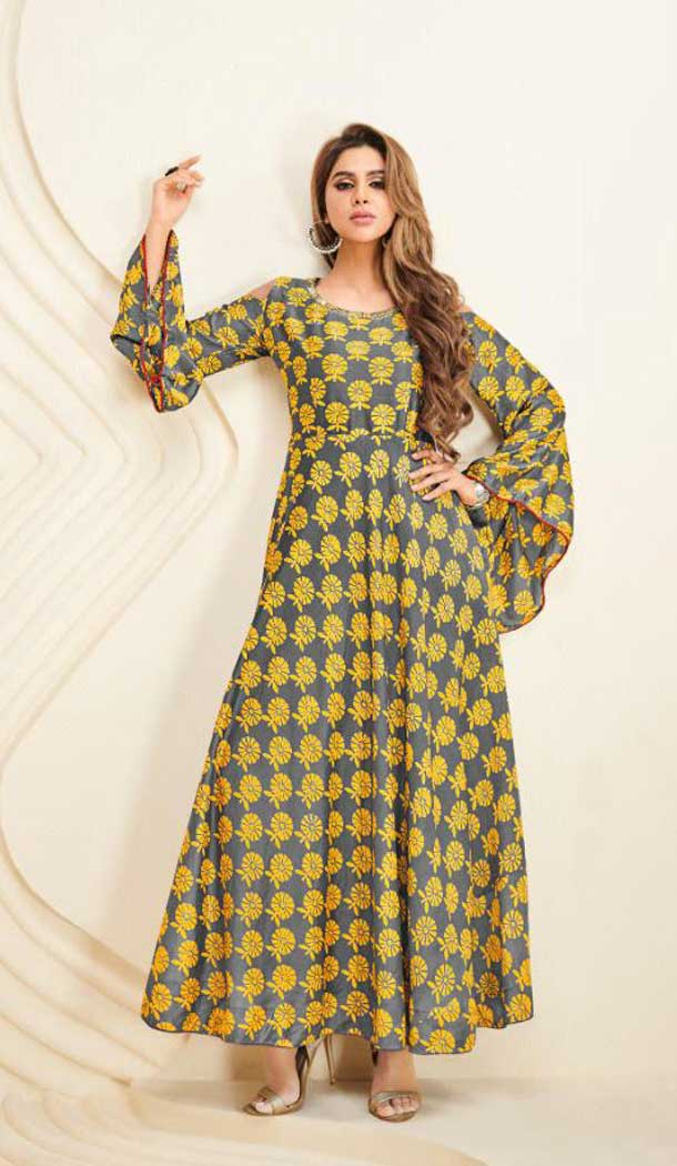 Ethnic Yellow Color Heavy Cotton Party Wear Long Readymade Kurti -475266314