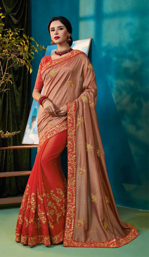 Adorable Light Brown Red Color Two Tone Chiffon Party Wear Saree