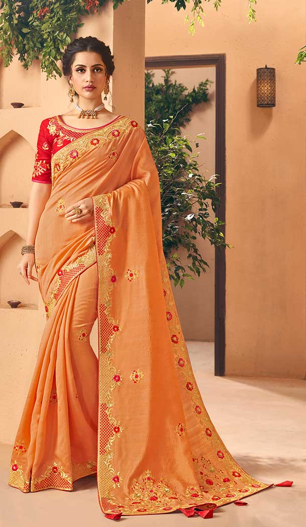 Adorable Orange Color Art Silk Paryu Wear Designer Saree