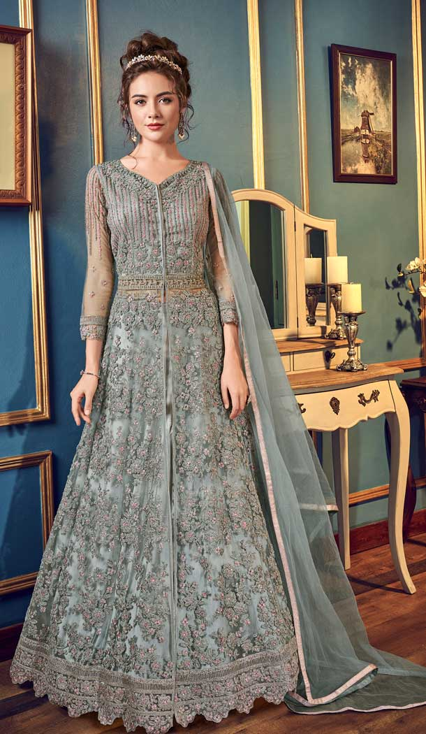 Fascinating Grey Color Net Designer Pakitani Style Lehenga Suit