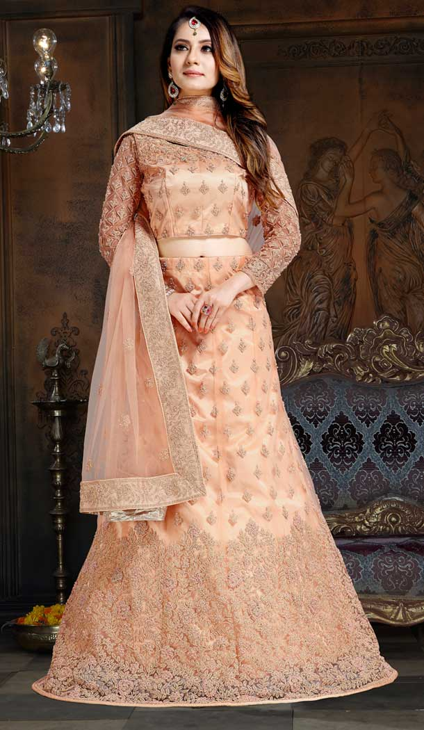 Light Peach Color Velvet Designer Traditional Wear Lehenga Choli