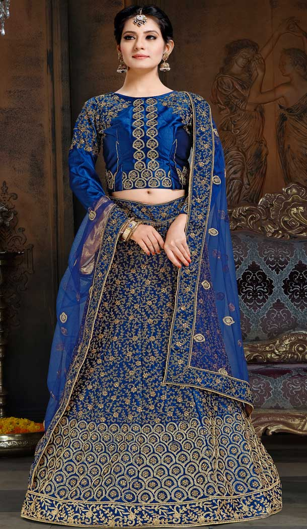 Aesthetic Royal Blue Color Satin Designer Traditional Wear Lehenga Choli -70811306