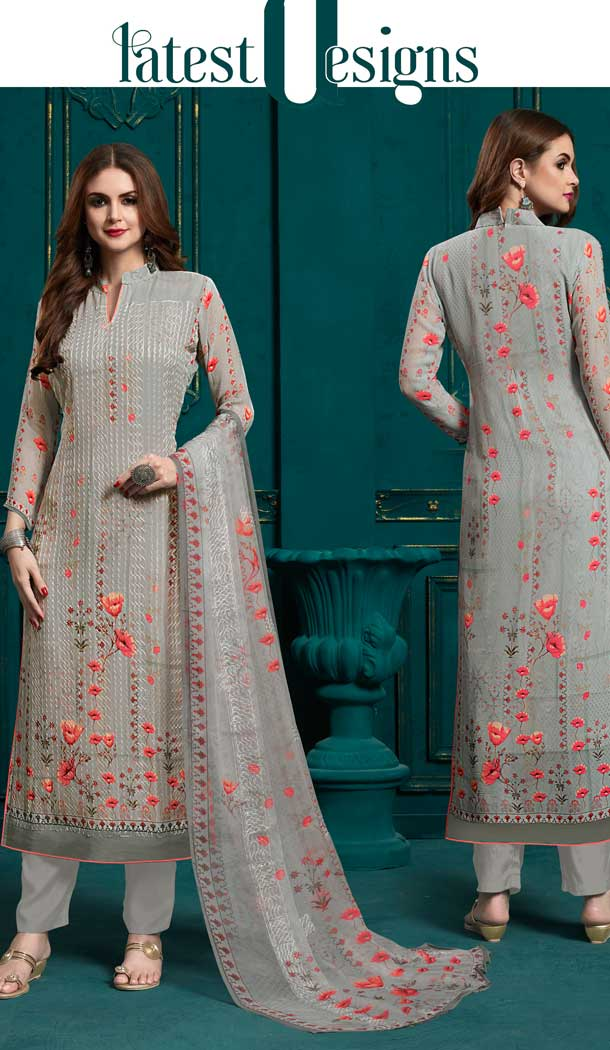 Lovely Grey Color Georgette Casual Party Wear Salwar Suit