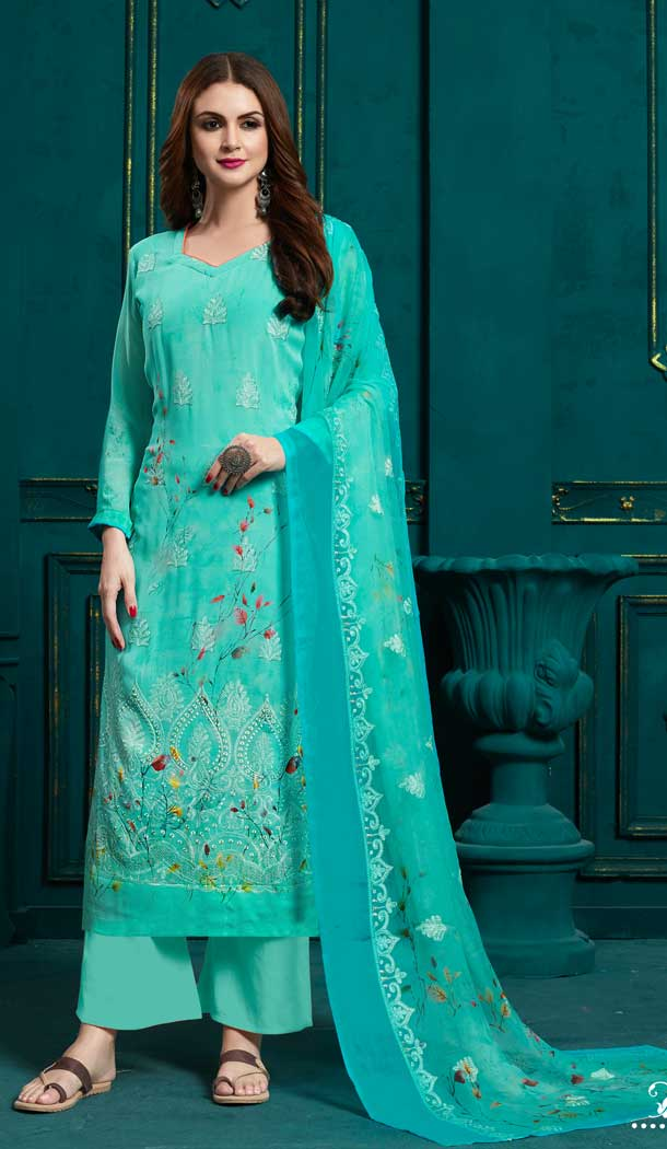 Turquoise Blue Color Georgette Casual Party Wear Plazzo Suit
