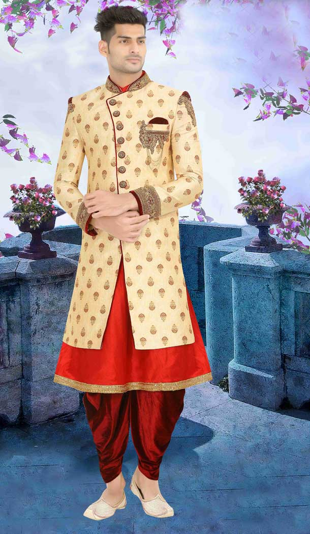 Wedding Wear Indo Western Plus Size Men Sherwani in Cream Red Color -671184325